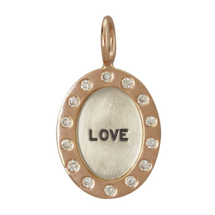 """Heather B. Moore - Silver Oval with Rose Gold Diamond Wide Frame """"LOVE"""" - Starfish Jewelry Store"""