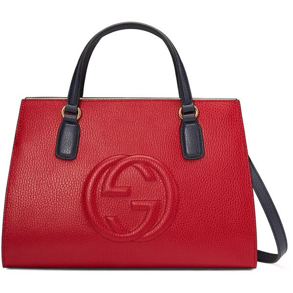 Gucci Soho Leather Top Handle Bag ($1,690) ❤ liked on Polyvore featuring bags, handbags, red, pocket purse, leather handbags, red handbags, embossed leather purse and gucci purses