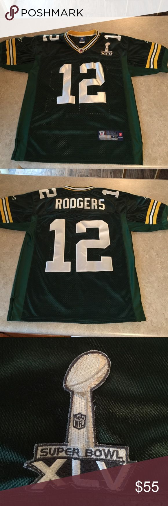 Aaron Rodgers Super Bowl XLV Jersey Men's size 48 (medium) Reebok Home Jersey. Excellent condition. Comes from a smoke-free home. Reebok Other