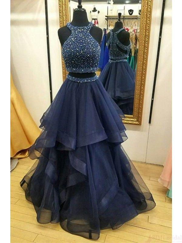 two pieces prom dresses, beading evening dresses #SIMIBridal #promdresses