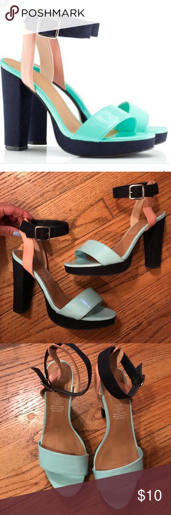 H&M mint, navy & blush suede sandals - Sz 6 H&M sandals size 36.  Previously loved, but in good condition. Faux suede, navy heel, platform and ankle strap.   Mint toe strap and foot bed.  Faux leather blush heel straps.  Cute, thick heels, very in style right now. H&M Shoes Sandals