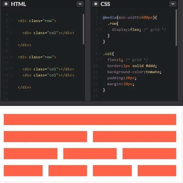 The simplest if #grid with #flexbox #css properties. Put the row class inside a min-with query to make The grid responsive. Who thinks I should make a #Danish flag with flexbox? . . . #html #php #webudvikler #webudvikling #webdeveloper #coding #code #java #javascript #bootstrap #codeigniter #laravel #framework #jquery #python #hjemmeside #nyhjemmeside #kea #multimediedesign #undervisning #codingpirates #kodeskolen #kreativ #creative