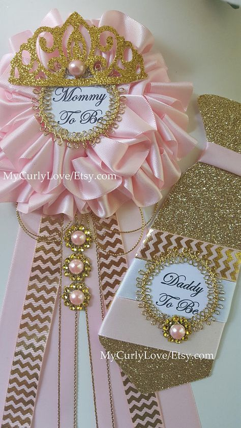 *Mommy to be Corsage 6 wide approx 11 long approx 1.5 back pin ready to use *Tie Daddy To Be Pin Glittered Cardstock Ribbon and Trim Embellishments 6 1/2 long 2 1/2 wide 1.5 back pin included ready to use *Small Long Ribbon Princess Pin 7 1/2 long approx 4 1/2 wide *Custom Guest Size