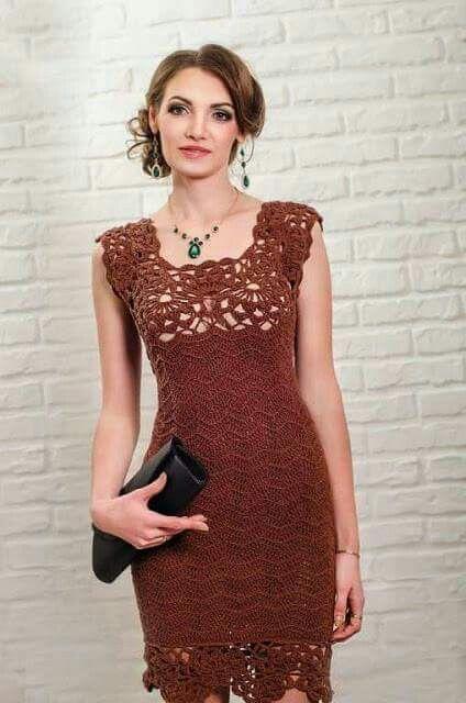 crochet dress with lace crochet yoke.  no pattern