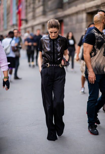 Olivia Palermo wearing black pants and blouse seen outside Elie Saab on day  four during Paris Fashion Week Haute Couture FW18 on July 4 2018 in Paris. 3df349ed32778