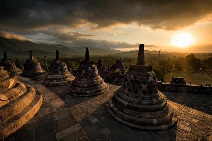 Borobudur at Sunrise, Indonesia: This was part of the trip in October with my friends from Batu.