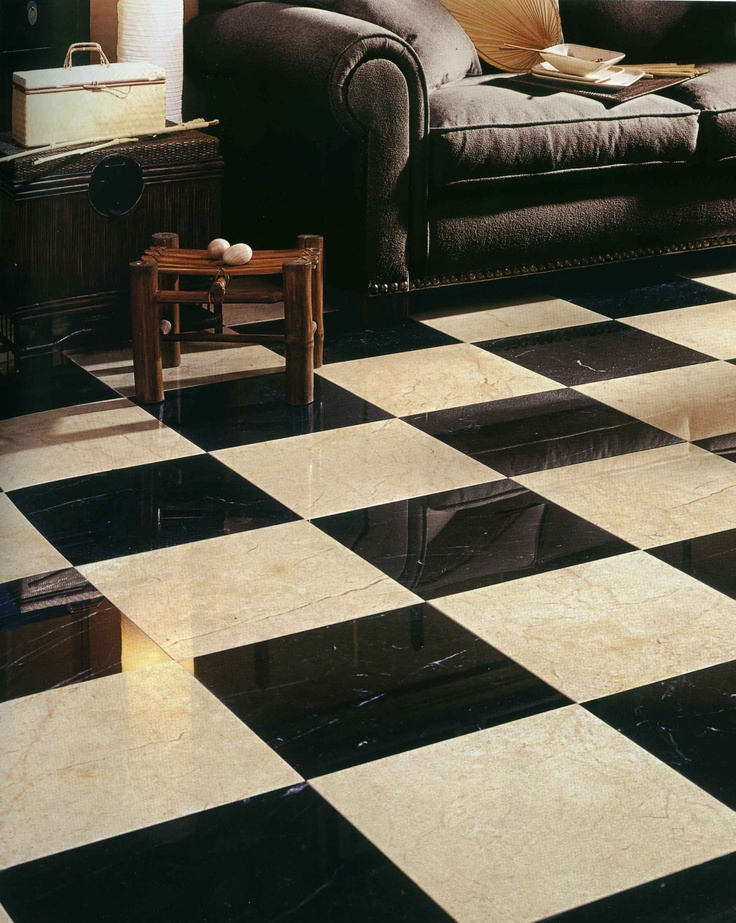 #Nero #Fossili and #Crema #Marfil have been combined to create a striking checker board effect. #UnionTiles
