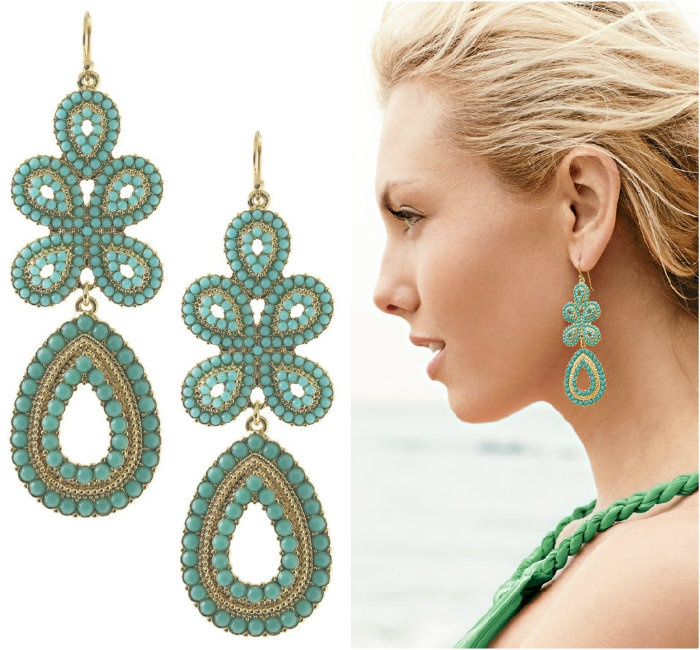 Love From Stella Dot Turquoise Capri Chandelier Earrings
