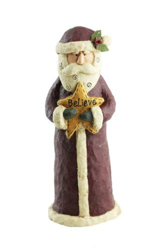 Craft Outlet Papier Mache Santa Believe Figurine, 11-Inch *** See this great product. (This is an affiliate link)