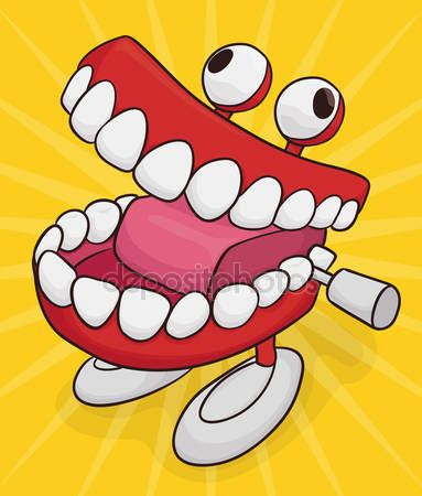 Funny chattering teeth toy with googly eyes and feet isolated in yellow background.