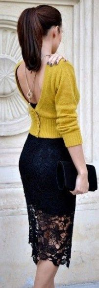 кружевная юбка карандаш, черная юбка из кружева