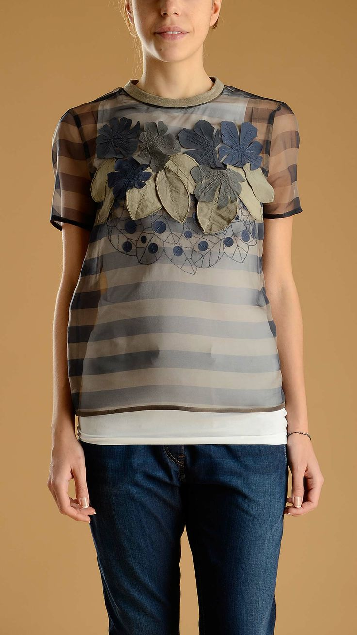 "Striped silk organza ""ikebana"" T-shirt featuring leaf and flower detail at front made of striped silk cotton organza."