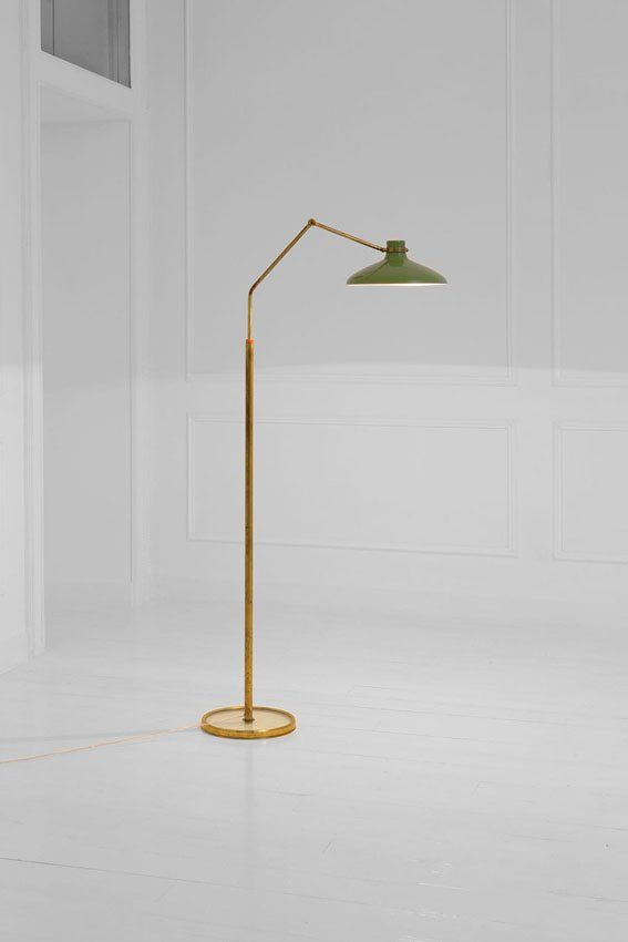 Gio Ponti; #1967 Brass and Enameled Aluminum Floor Lamp for Fontana Arte, 1950s.
