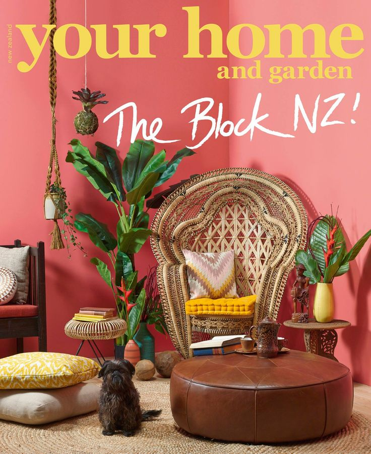 Alex & Corban's 'Balinese Botanical' Your Home & Garden Magazine Cover - The Block NZ - visit blog.curate.co.nz for links to all products | Raffles Peacock Chair from Masutti & Masutti; Rattan Stool from May Time; Pickled Whimsy Bromeliad Kokedama and Macrame Plant Hanger from Junk & Disorderly; Cushions, Rug, Vessels, Wooden Ball, Vases, throw, Banana Tree and Futon from Freedom