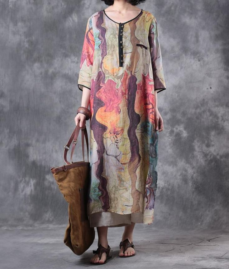 Beach Style Abstract Print Baggy Dress V-Neck Linen Holiday Dress    #dress #holiday #print #baggy #beach #print #travel #clothing #beautiful #summer #fashion