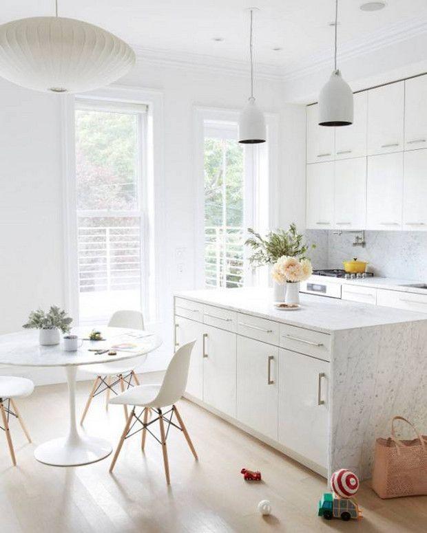 Best All White Room Ideas White Marble Modern Kitchen