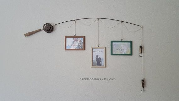 Fishing Pole Picture Frame - Brown Pole - 3 - 4 in x 6 in Picture Frames - Bambi, Oyster Beige, Alpine