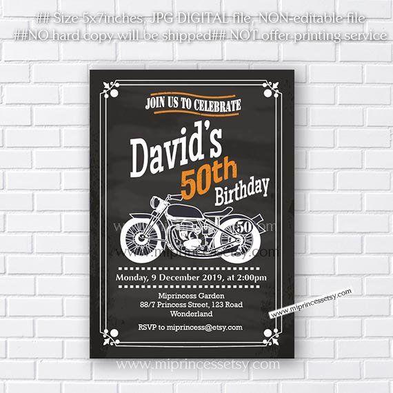 30 Invitation Cards Birthday Motorcycle Biker Invitations any age 40 50 60