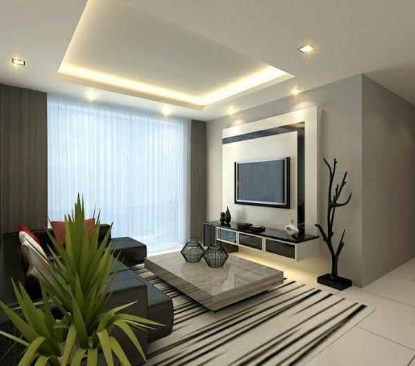 1-salon-design-élégant-meuble-tv-en-bois-tapis-carrelage-blanc-beige-plante-verte