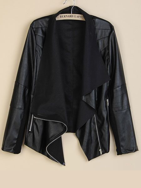 awesome New Arrival Women Casual Slim PU Leather Jacket Black Zipper Cool Coat