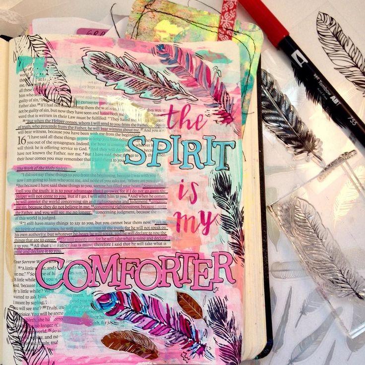 Holy Spirit is my comforter John 15:26 #bibleartjournaling #bibleartjournalingdeutsch #bibleartjournalingcanada #plumcoulee #john14 #bibleart#illustratedfaith #documentedfaith #biblejournalingcommunity #bibleverse #godquotes #godsword #art #mixedmediaart #mixedmediaartist #journaling http://ift.tt/1KAavV3