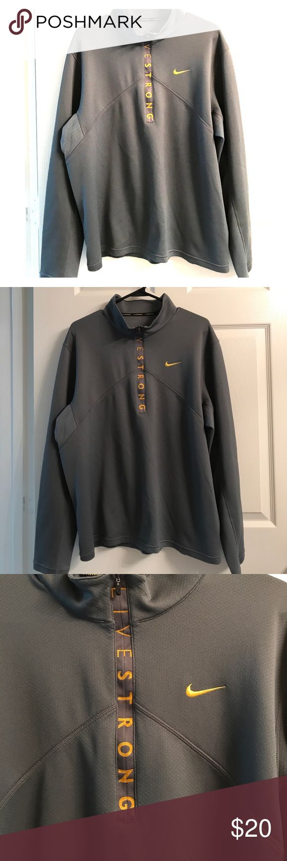 Men's Nike LiveStrong Pullover Gently worn men's Nike LiveStrong half-zip pullover. Has a small pocket on the side that zips. Nike Shirts Tees - Long Sleeve
