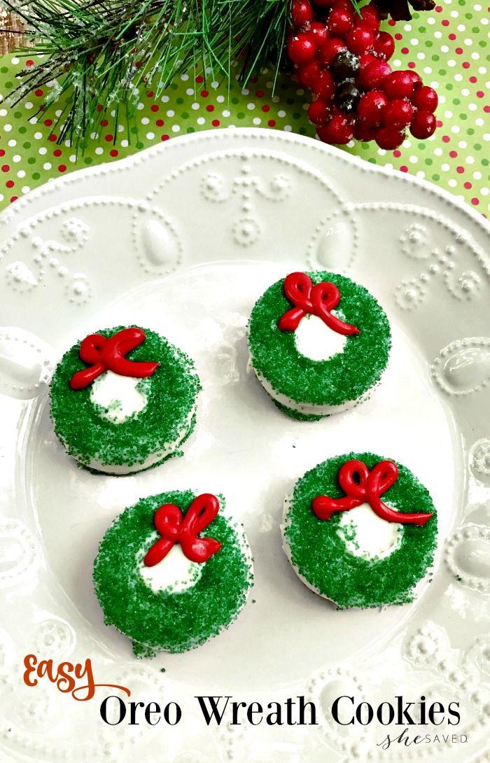Chocolate Covered Oreo Christmas Wreath Cookie