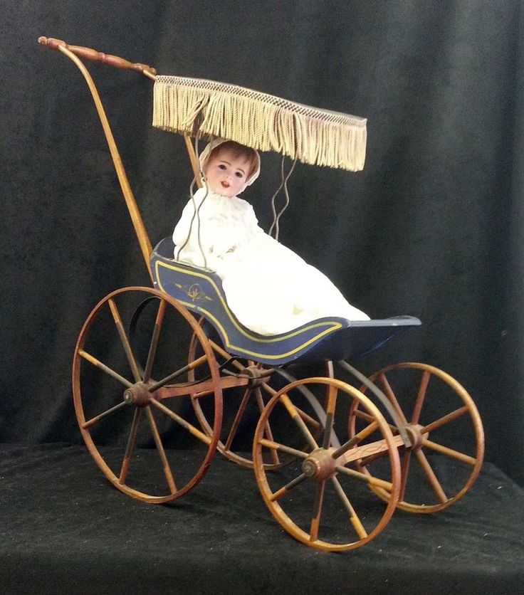 Antique Victorian 1800 S All Wood Doll Stroller Carriage