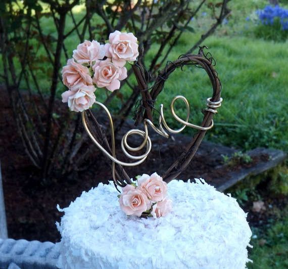 Peach Rose & Vine Rustic Cake Topper for Weddings & Bridal Shower
