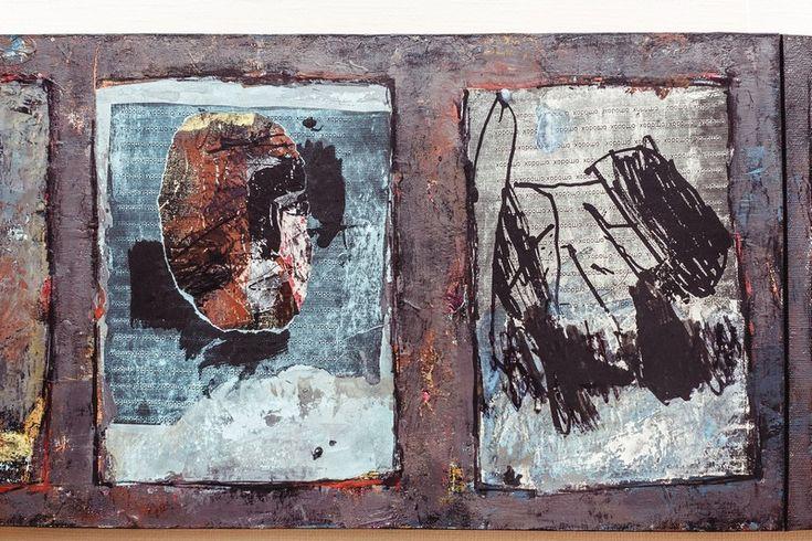 Геннадий Кузькин «Доска почета (автопортрет)». Фрагмент. 2014. Холст, смешанная техника. 30×140 см. #art #contemporaryart #russianart