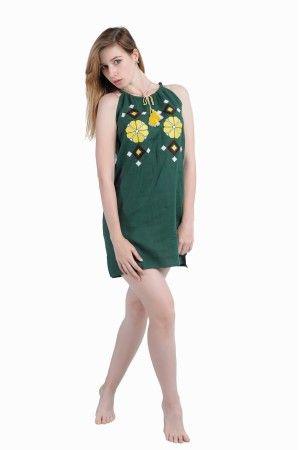 82753147be39b2 Сарафан-міні «Гуцулка» виконано зі 100% льону зеленого кольору та оздоблено  жовто