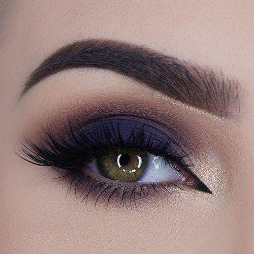 makeup, dark blue smokey eye,