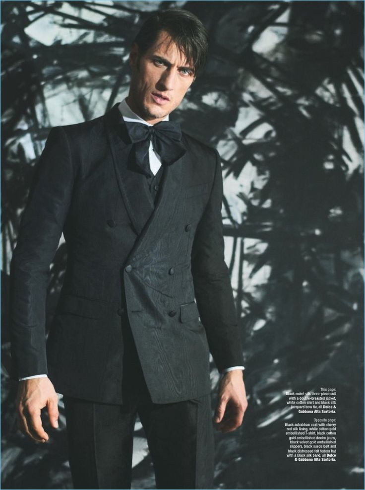 Donning evening tailoring, Axel Hermann wears a double-breasted suit by Dolce & Gabbana Alta Sartoria.
