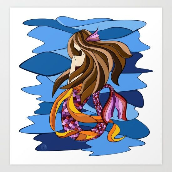 a mermaid created using stained glass style. vector work. #mermaid #stainedglass #vector #digital #zarya