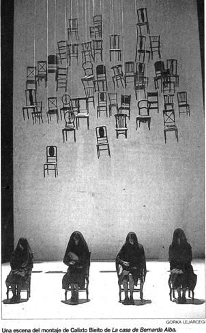 """The House of Bernarda Alba"" Set Design (1936), at the Teatro María Guerrero, Madrid, Spain, directed by Calixto Bieito, scenery by Alfons Flores, November, 2003. I had recently done the sets for a ""Bernarda"" (See: Teatro Vivo de Oaxaca, Encyclopedia of Images.)"