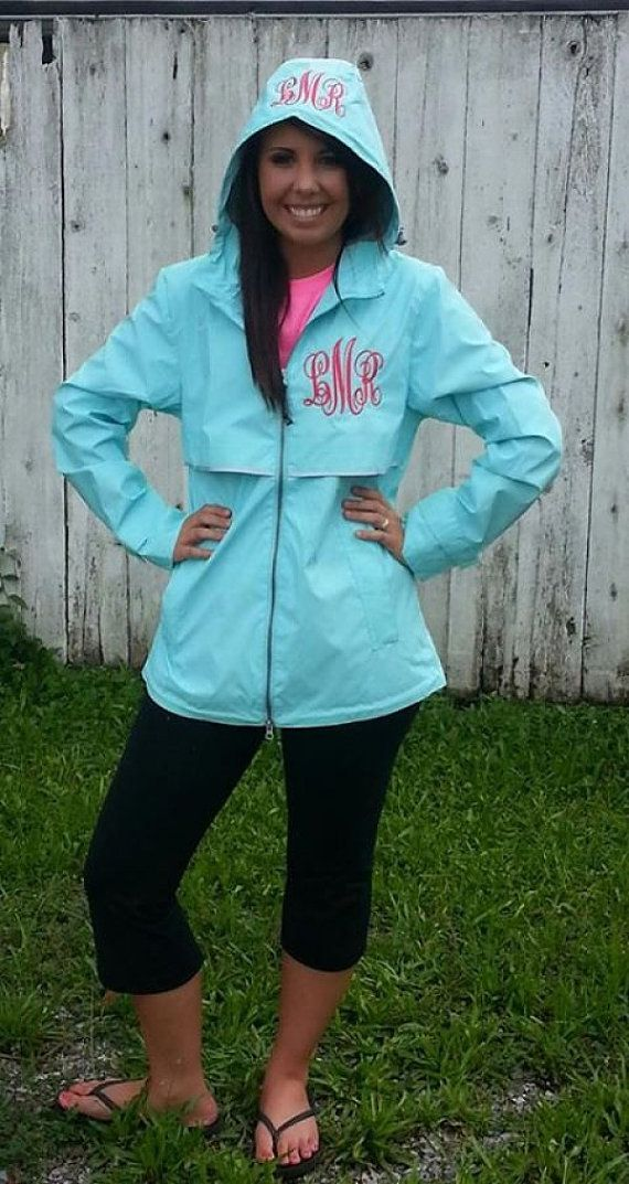Womens Charles River monogrammed rain coat free hood and chest personalization by pumpkin pie girl on Etsy, $62.99. My mom bought one of these for me and it's adorable, comfy and surprisingly warm!