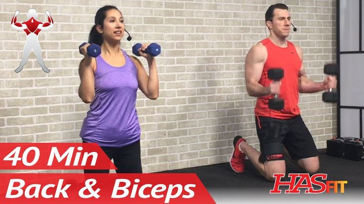 40 Min Back and Bicep Workout for Women & Men - Back and Biceps Exercise...