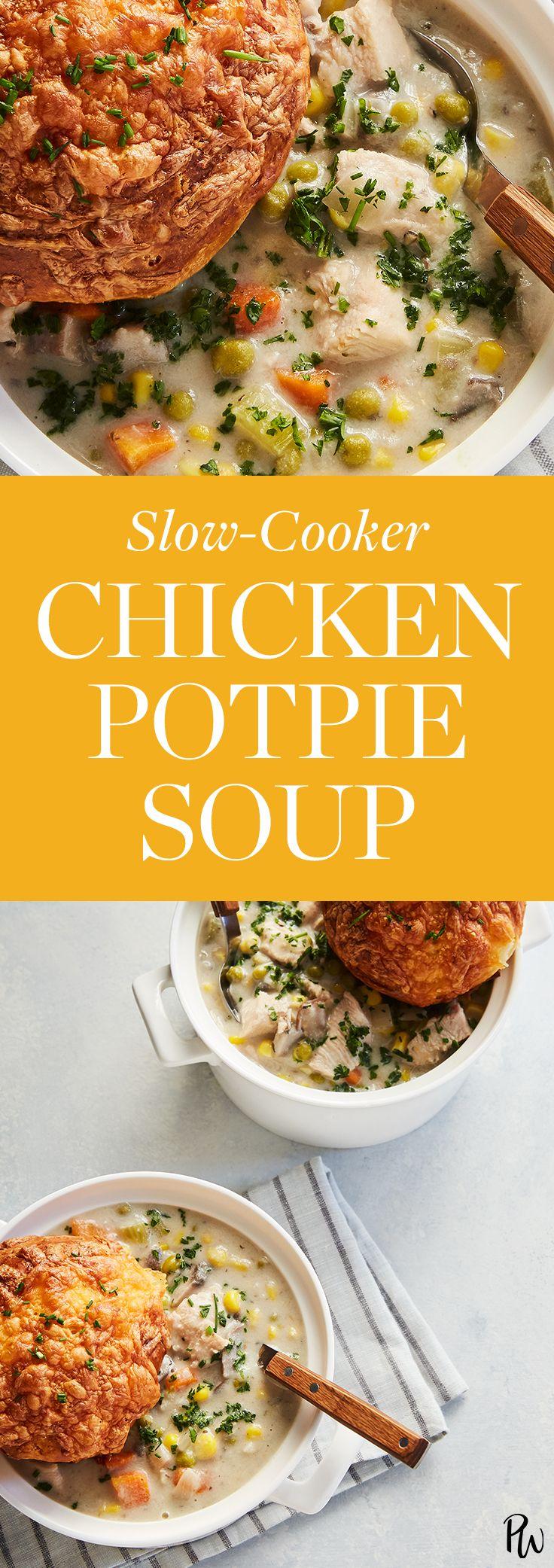 Slow-Cooker Chicken Potpie Soup (PureWow)