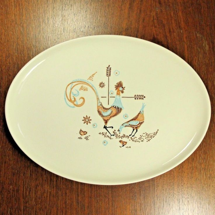 Rooster Chicken Platter Taylor Smith T Colorcraft PEPPERMINT ROO Mid Century VTG #TaylorSmithTaylor