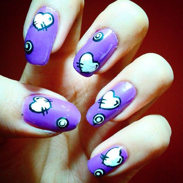 #PurpleNails #HeartNails #CartoonNails