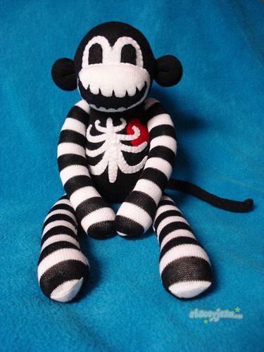 """Macabre Sock Monkey"" by Stacey Jean - reminds me of Jack Skellington :)"