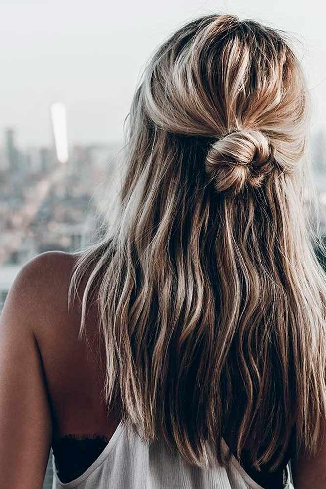 Easy Half-Up #Einfache Frisuren? Frisuren für mittellanges Haar sind die stilvolle Mischung aus kurzen und langen Frisuren! Und unsere Ideen sind wirklich gut ...
