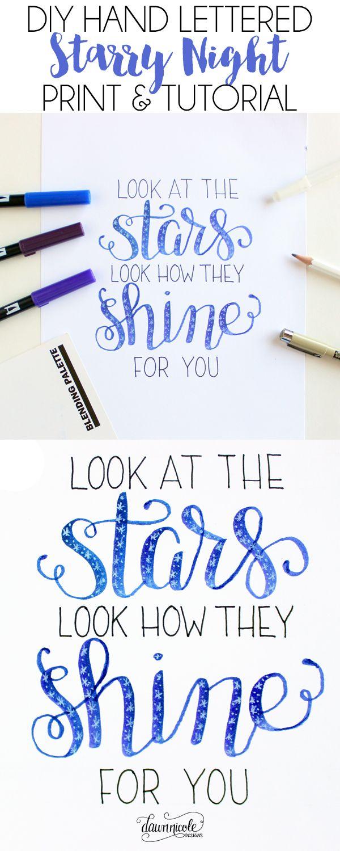 DIY Starry Night Hand Lettering Tutorial + Video | dawnnicoledesigns.com