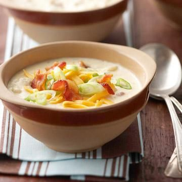 Bacon and Baked Potato Soup: Comfort food doesn't get much better than this!  More fall comfort food recipes: http://www.midwestliving.com/food/comfort/readers-choice-fall-comfort-foods/:  Hotpot, Baked Potatoes, Baking Potatoes Soups, Potatoes Soups Recipes, Comforter Food, Bacon, Yummy, Baked Potato Soup, Favorite Recipes