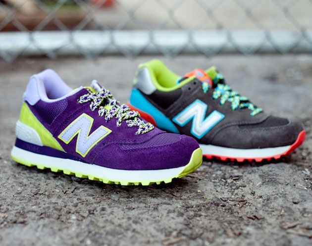 new balance 574 purple green
