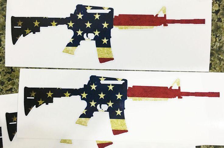 """M16/AR-15 American Flag Sticker Decal - 2"""" x 6"""""""