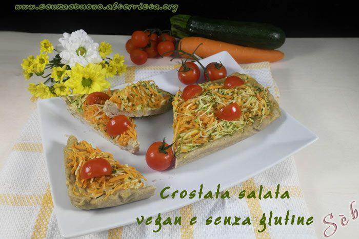 Crostata salata con pasta matta (farine naturali) ricotta di mandorle e verdure di stagione, tutto #vegan #senzaglutine #senzalievito http://senzaebuono.altervista.org/crostata-salata-vegan-senza-glutine-zucchine-carote/