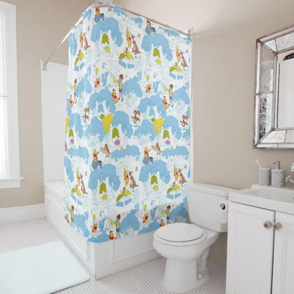Winnie The Pooh At The Honey Tree Pattern Shower Curtain Zazzle Com Patterned Shower Curtain Curtains Shower Curtain