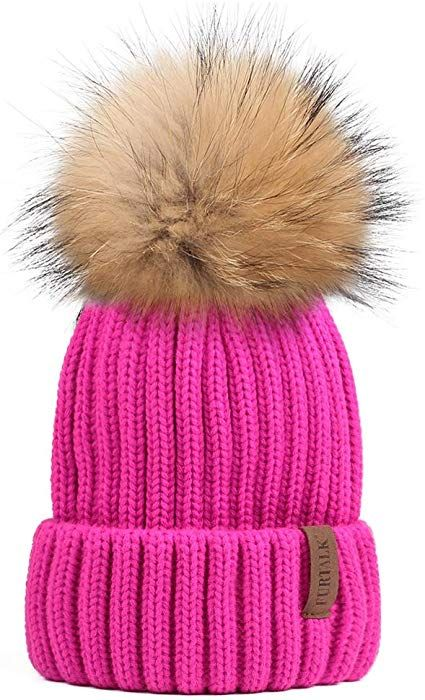 2f515b02a1a FURTALK Womens Girls Winter Fur Hat Real Large Raccoon Fur Pom Pom Beanie  Winter Hats (Beige) at Amazon Women s Clothing store