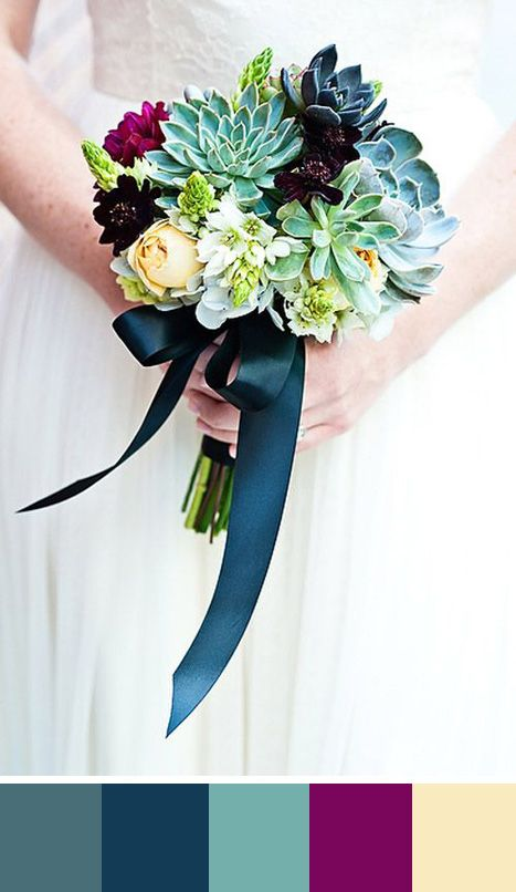 An elegant bouquet of blue/green, purple and yellow. Source: Junebugweddings #colorpalettes #teal #bouquet
